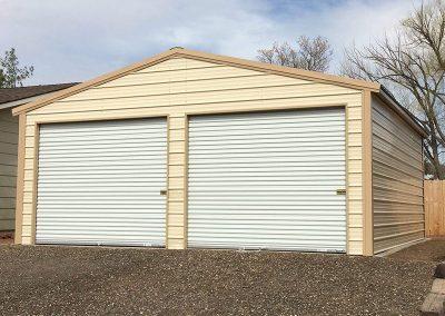 Metal Cream Garage with white doors
