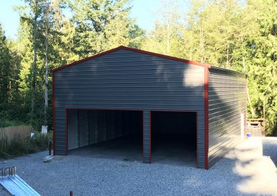 Metal Gray Garage with red trim