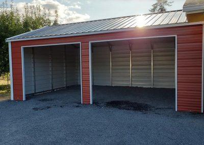 Metal Garage, red with white trim