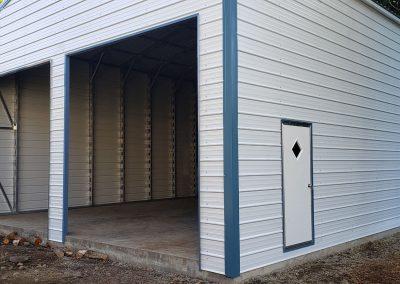 Metal Garage, white with blue trim